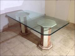 Mesa de cristal con pied marmol en ibiza de segundamano en http://tododesegundamano.es